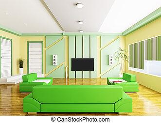 soggiorno, moderno, lcd, interno, 3d