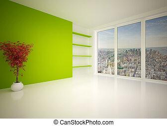 soggiorno, moderno, salotto, interno, vuoto