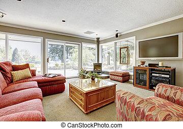 soggiorno, molti, windows., divano, pareti, beige, rosso