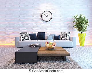soggiorno, parete, grande, orologio, onda, bianco