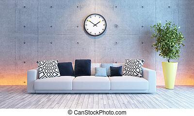 soggiorno, parete, luce, concreto, disegno, sotto, interno