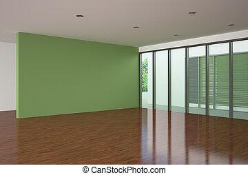 soggiorno, parete, moderno, verde, vuoto