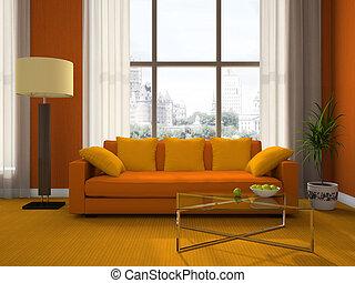soggiorno, parte, moderno