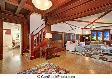 soggiorno, pavimento, legno, ceiling., pareti, vaulted, legno duro, lusso, interno