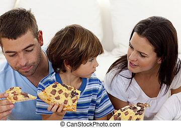 soggiorno, pizza, mangiare, prents, figlio