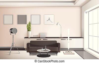 soggiorno, realistico, disegno, interno, 3d