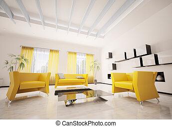 soggiorno, render, moderno, interno, 3d