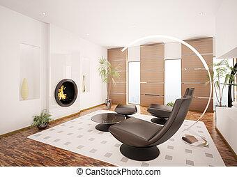 soggiorno, render, moderno, interno, caminetto, 3d