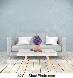 soggiorno, render, -, scandinavo, interno, 3d