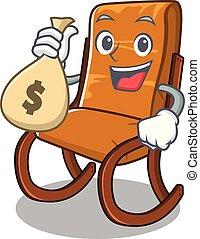 soggiorno, sacco soldi, sedia, oscillante, cartone animato