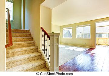 soggiorno, scala, casa, interior., vuoto