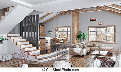 soggiorno, scala, moderno, cucina, casa, interpretazione, disegno, divano, interno, 3d