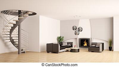 soggiorno, scala, moderno, interno, caminetto, 3d