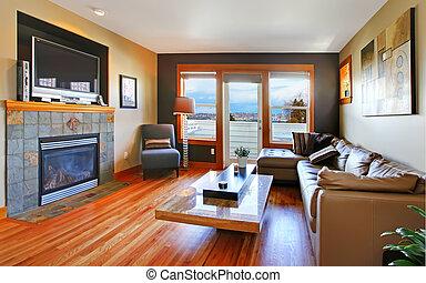 soggiorno, sofà cuoio, tv., interno