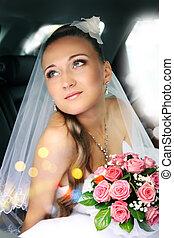 sognante, bello, sposa