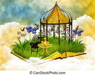 sognante, lettura, posto, in, il, cielo blu