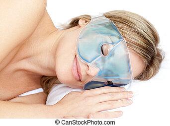 sognante, maschera gel, occhio donna