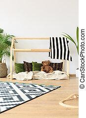 sognante, minimalista, stanza capretti