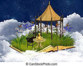 sognante, posto, lettura, cielo