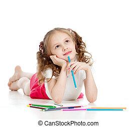 sognante, ragazza, con, matite