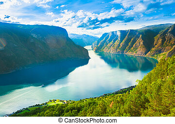 sognefjord, nature, fjord, norvège
