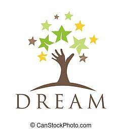 sogno, albero, sognare, design., bambini, alto, template., mano, casato, stella, logotipo, icon., su, vector., cinque, crescita, pensare