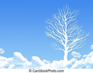 sogno, concetto, albero, nuvola, modellato