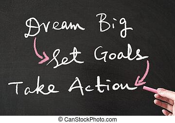 sogno, grande, set, mete, e, prendere, azione