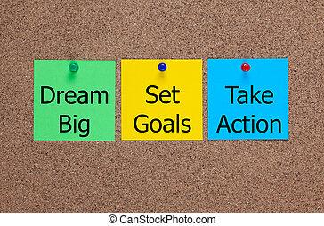 sogno, grande, set, mete, prendere, azione