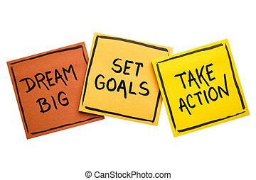 sogno, grande, set, mete, prendere, azione, concetto