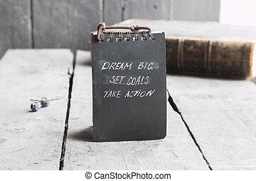 sogno, grande, set, mete, prendere, azione, inspirational, motivazione, citazione