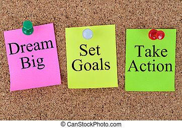sogno, grande, set, mete, prendere, azione, scritto, su, note