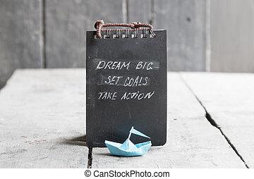 sogno, grande, set, mete, prendere, azione, su, lavagna, scritto