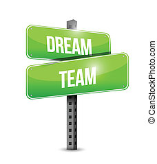 sogno, squadra, segnale stradale, illustrazione, disegno