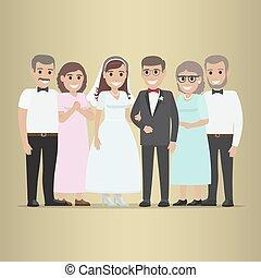 sogros, par, casado, recentemente, vetorial