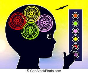 soi, concept, apprentissage, gosses