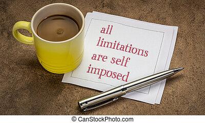 soi, inspirationnel, tout, note, limitations, imposé