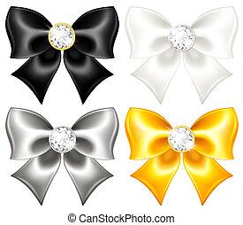soie, arcs, noir, or, diamants