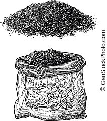 Soil and plastic bag illustration, drawing, engraving, ink, ...