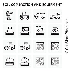 Soil Compaction Icon - Vector icon of soil compaction and...
