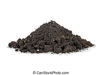 Soil, dirt pile isolated on a white background
