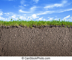 Soil ground, grass and sky natural background