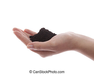 Soil in hand with clipping path