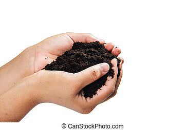 soil in hands on white background.