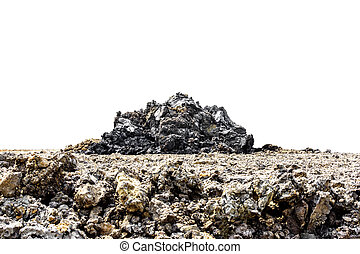 Soil of land with pile of soil on white background