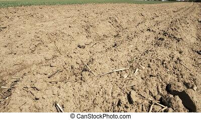 Soil on empty field - Camera slide over soil on empty field...