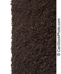 Soil or dirt texture isolated on white background - vertical...