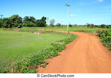 Soil road in countryside with blue sky