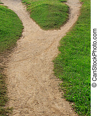 soil trail and green grass seperated two way