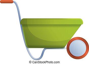 Soil wheelbarrow icon, cartoon style